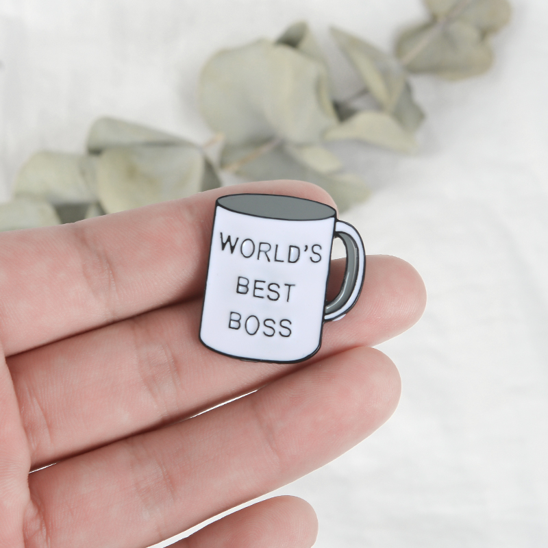 World ' s Best Boss Pin Boss Coffee Mug Lapel pin Badges Men Women Hat Bag Backpack Jackets Accessories Boss Gift Ideas image