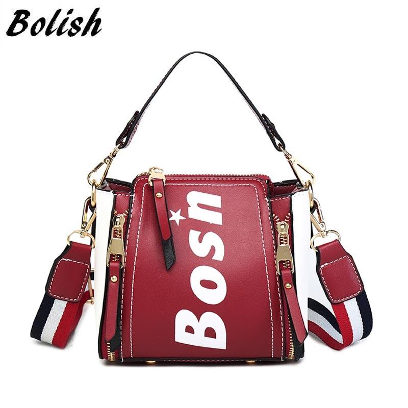 Bolish Women Classic PU Crossbody Bag Female Daily Shopping Shoulder Bag Lady Causal Letter Handbag All-Purpose Dames Tassen