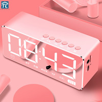 Smart Bluetooth Alarm Clock Speaker Wireless Mobile Subwoofer LED Lights Small Decoration Electronic Home Music Player Wake Up