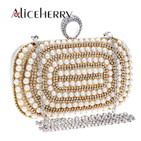 Bags Luxury Diamond Evening Bag Gold Silver Women Pearl Crystal Finger Rings Clutches Wedding Party Purse Chain Handbags
