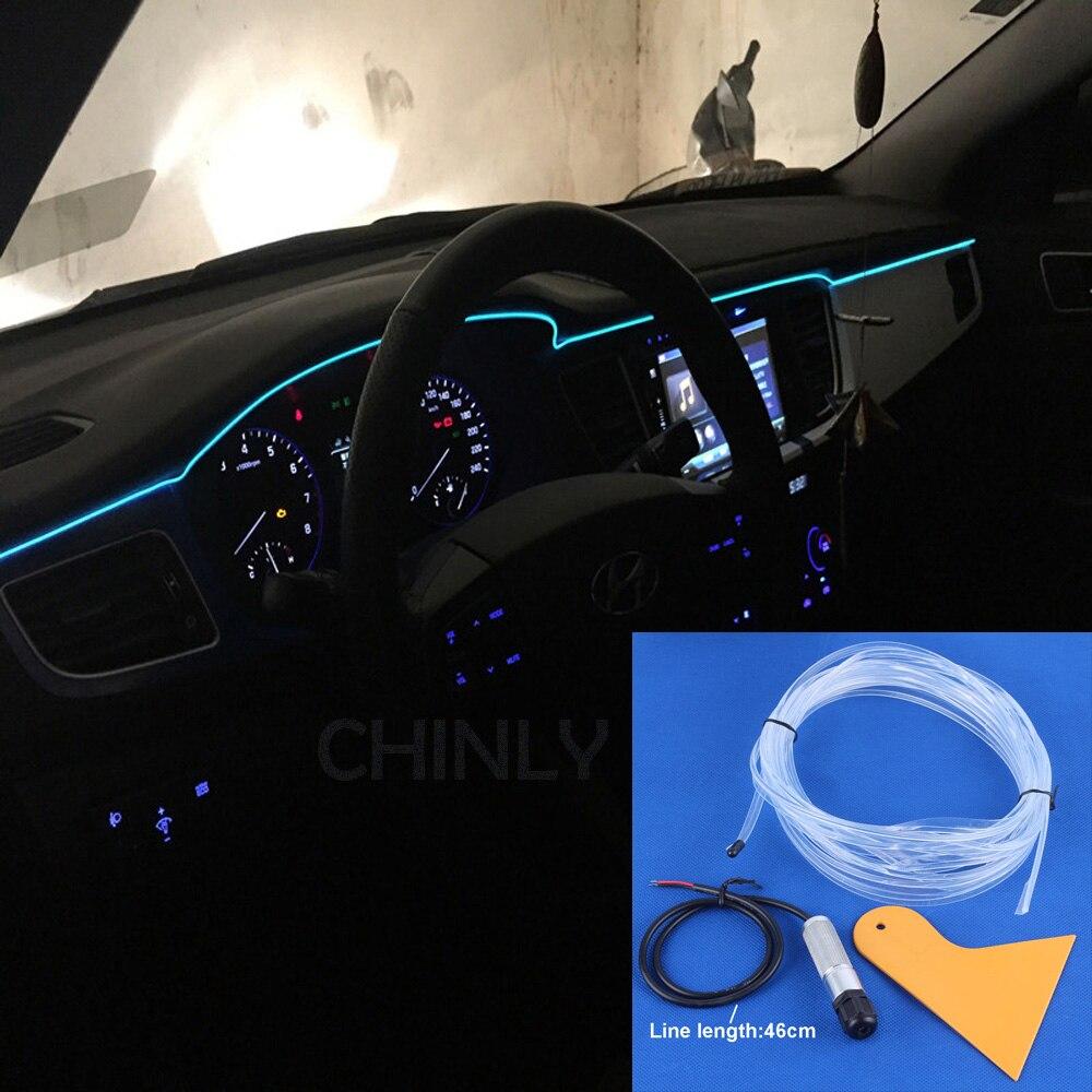 1 m/2 m/3 m/4 m/5 m DC12V côté lueur fiber optique lumière kit pour voiture décoration LED Néon Lumières Chaussures Vêtements De Voiture étanche