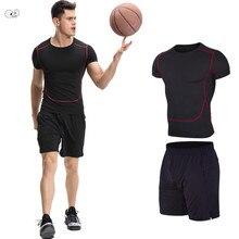 43449e413 2 piezas de Fitness de baloncesto directo de fútbol gimnasio trajes de  deporte para correr de los hombres de secado rápido de ma.