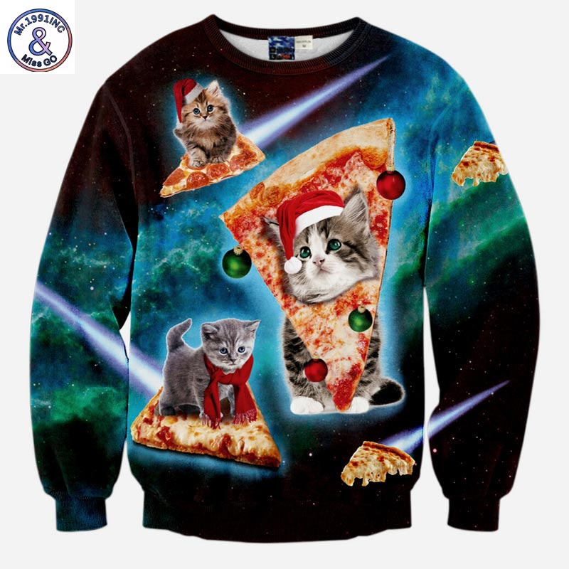 2017 Mr.1991INC Hot Sell Men/Women Hoodies Plus Velvet Long Sleeve Male Fleece Sweatshirt Tracksuit Tops Print Pizza Cat Hoodies