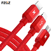 Pzoz 3 In 1 Cable Usb Data Sync Charger Charging For Iphone 7 6 5s Cabel