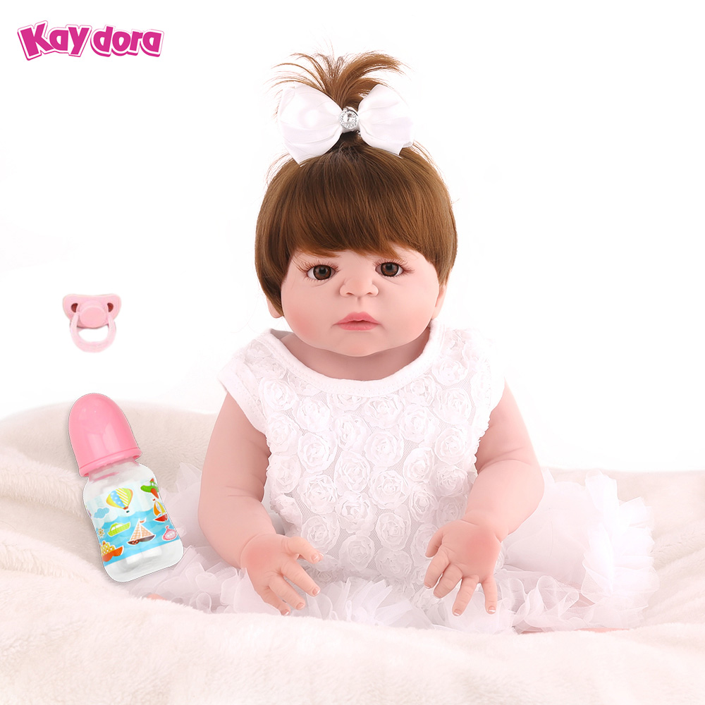 KAYDORA 22 inch 55cm Full Vinyl Silicone Reborn Baby Dolls Lifelike Hair Wig Adorable Kids Reborn Babies Realistic Girl Bonecas new 22inch about 56cm doll reborn full silicone vinyl babies for girls hair wig realistic alives soft baby dolls bonecas reborn