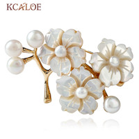 KCALOE Vintage Flower Brooch Natural Shell Bouquet Pins Brooches For Women Fashion Pearl Dress Scarf Wedding