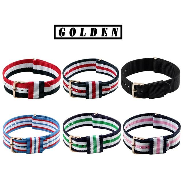 Retro Nylon Watch Strap Golden Sliver Pin Cloth Buckle Watches Belt Army Sport Watchband Men Women Wristwatch Bands Accessories