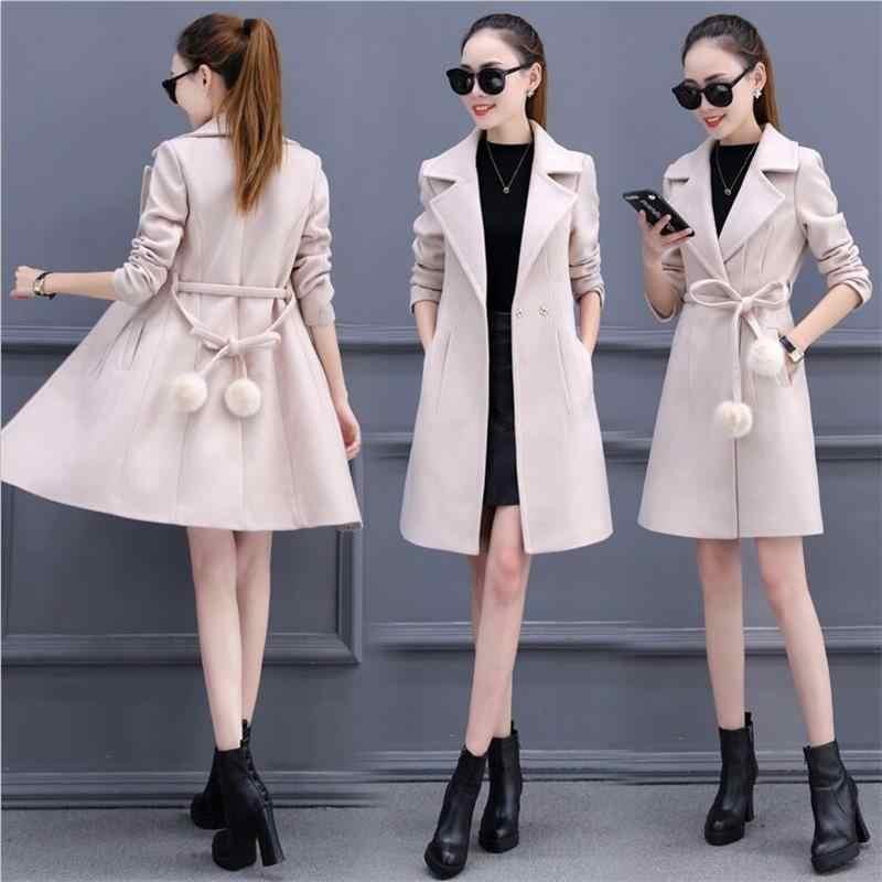 New 2019 Women Wool Blend Warm Long Coat Plus Size Female Belt Slim Fit Lapel Woolen Overcoat Autumn Winter Cashmere Outerwear