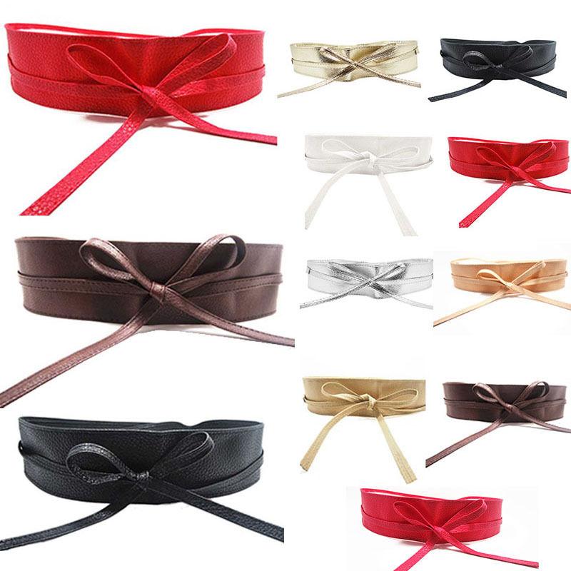 Women Soft Leather Wide Self Tie Wrap Around Waist Band ...
