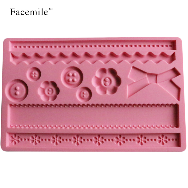 Facemile Button Bow Shaped Christmas Wedding Decoration Silicone Mold Fondant Lace Mould Fondant Gift Baking Tools 02028