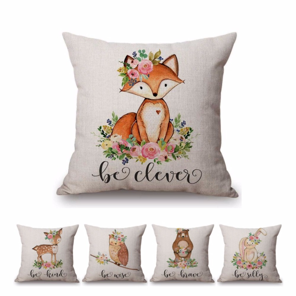Cute Watercolor Painting Fox Bunny Deer Kid S Nursery Art Room Decorative Throw Pillow Case Cotton Linen Letters Cushion Cover A156