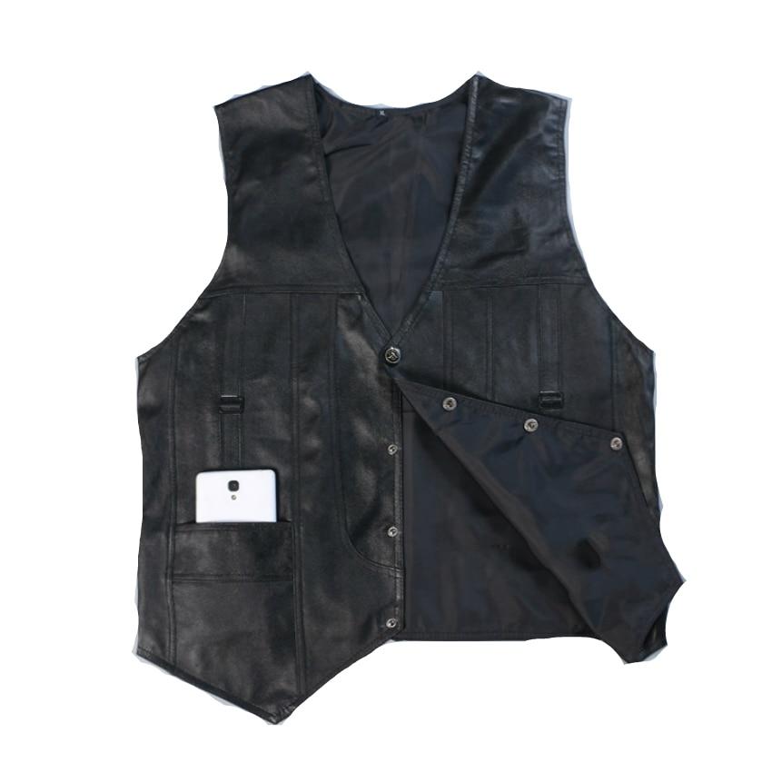 SHOWERSMILE Brand Leather Vest Mens Clothing Real Sheepskin Waistcoat Winter Autumn Soft Black Mens Gilet Motorcycle Jacket
