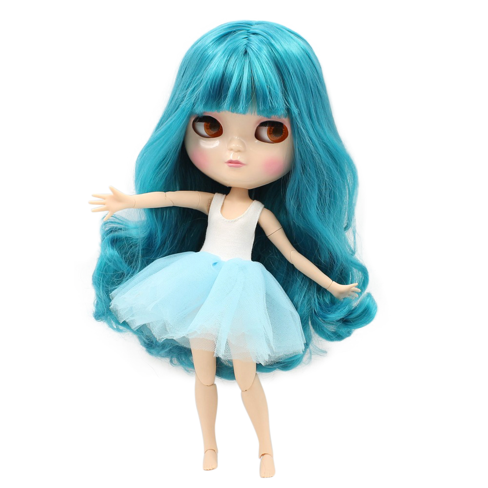 icy doll BL4302 blue green hair natural skin joint azone body small chest 1/6 30cm gift toy все цены