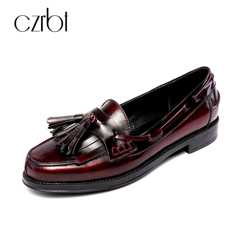 CZRBT Fringe Women Casual Retro Loafers Woman Genuine Leather Leisure Small Square Toe Flats Platform Ladies Shoes Size 34-41 qmn women crystal embellished natural suede brogue shoes women square toe platform oxfords shoes woman genuine leather flats