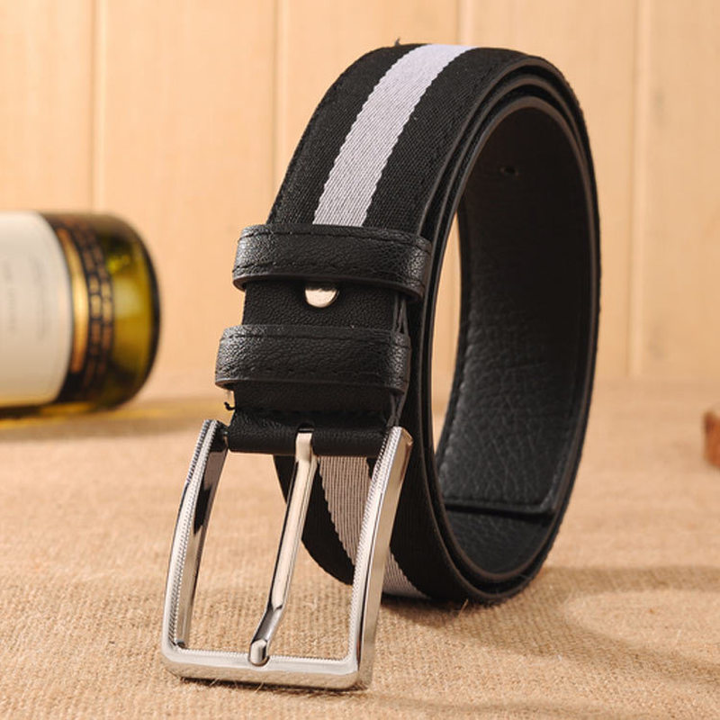 Designer Belt Men High Quality Canvas Belts for Women Fashion Pin Buckle Belt for Women Man Stripe Belt Simple Decorative Strap