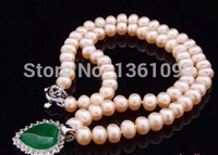0001009 Genuine 8 9 mm Pink Pearl Green Cubic Zirconia Crystal Heart Pendant & Necklace