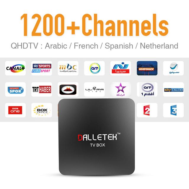 Dalletek IPTV Android TV Box 1 GB RAM con Caliente Europa Árabe Deporte francés Cuenta Sky Carga Inalámbrica Fuerte HD IPTV Cuadro de Medios