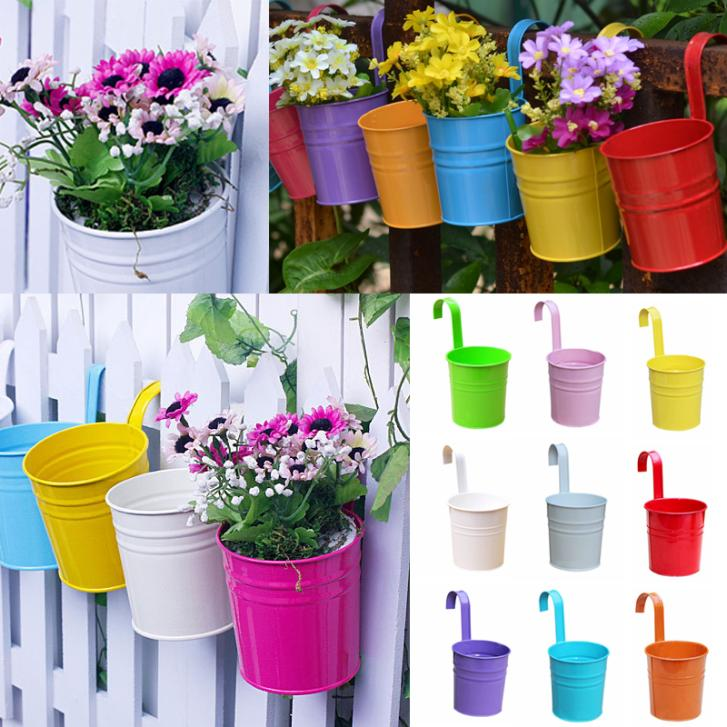 Hanging Plant Pots Online Part - 15: Colorful Metal Iron Flower Pots Hanging Balcony Garden Plant Planter Home  Decor Supplies Wall Hanging Metal