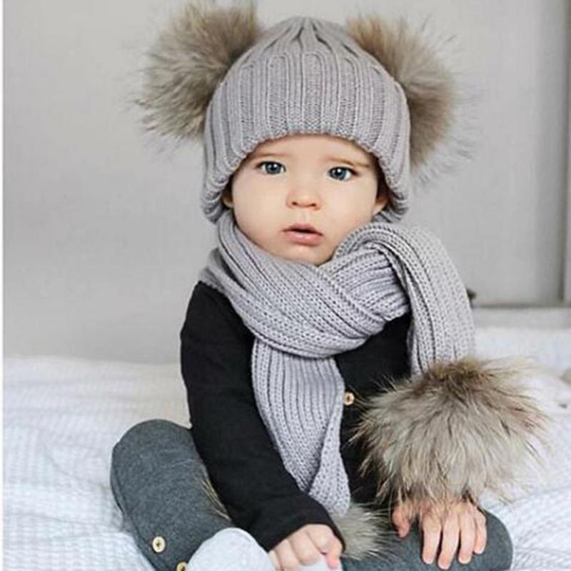 2Pcs Winter Warm Knitting Baby Cap Scarf Set Lovely Double Fur Balls Decoration Knitted Boys Girls Beanie Cap Hat with Scarf