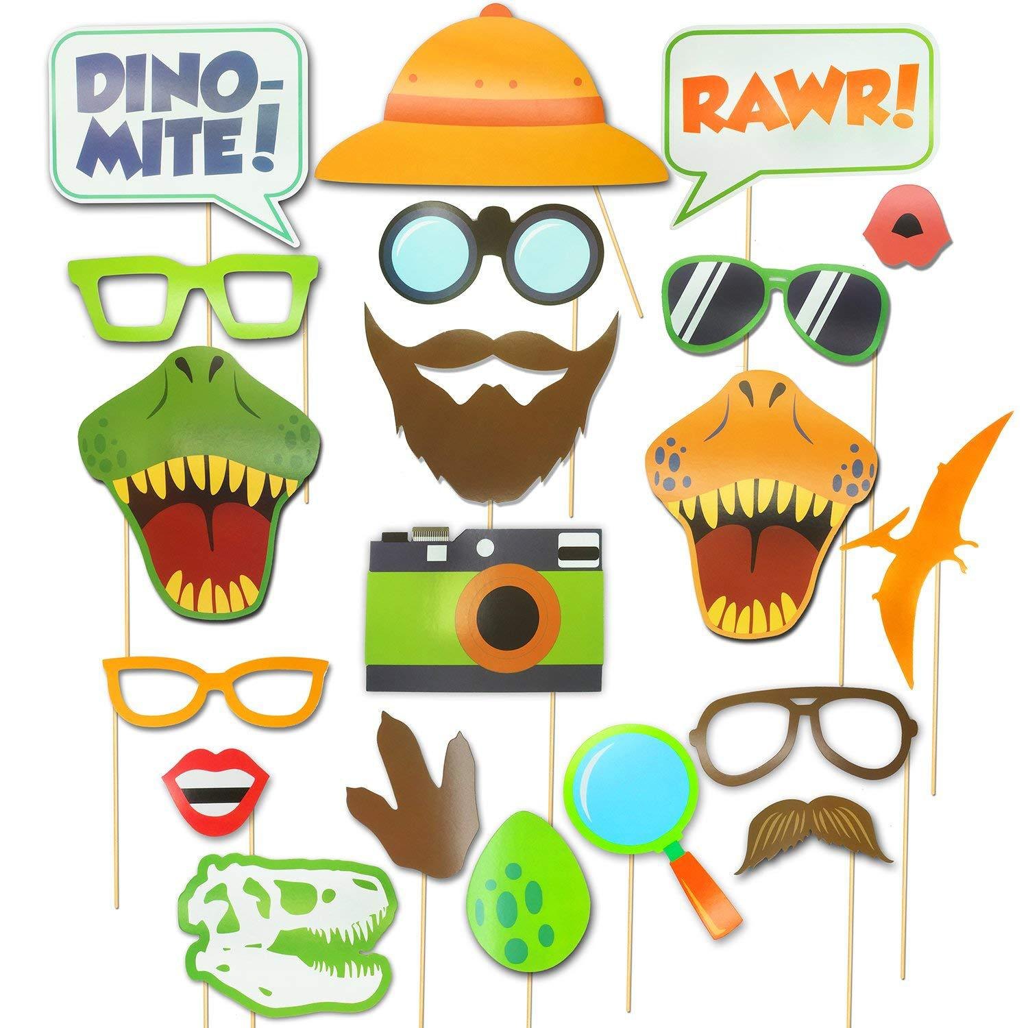 Kids Birthday Party Decorations Supplies Dinosaur Photo Booth Props DIY Kits Dinosaur Themed Party Cosplay Costume Favor Gifts