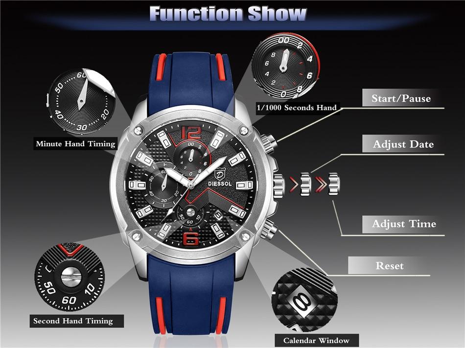 DIESSOL Men's Fashion Sports Quartz Watch Mens Watches Top Brand Luxury Rubber Band Waterproof Business Watch Relogio Masculino 13