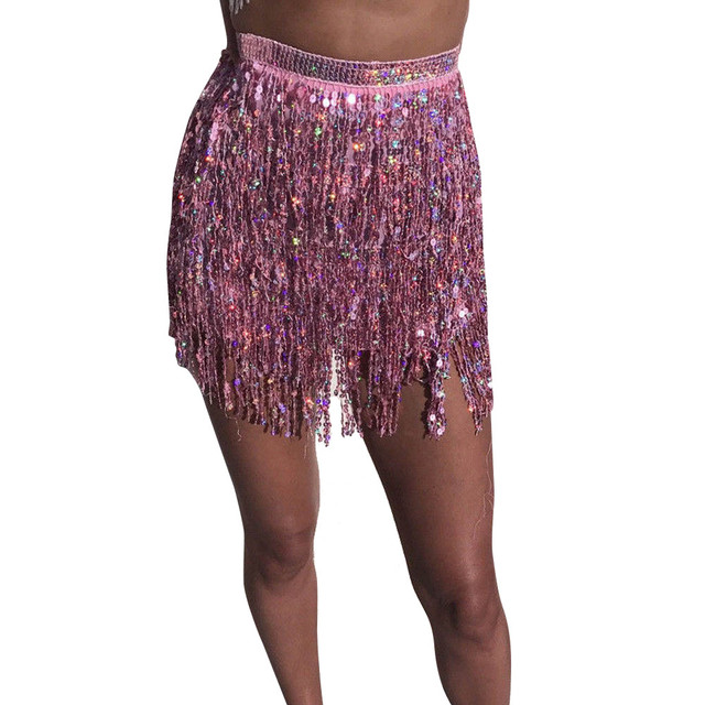 Sleeper #401 2018 NEW FASHION Women Sequin Belly  Dancer Costume Tassel Wrap Skirt Club Mini Skirt sexy party hot Free Shipping 5