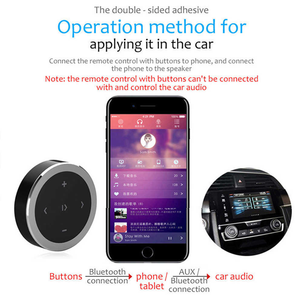 Wireless Easy Install Durable Intelligent Bluetooth Steering Connection  Remote Controller Round Receiver Car Mounted Portable