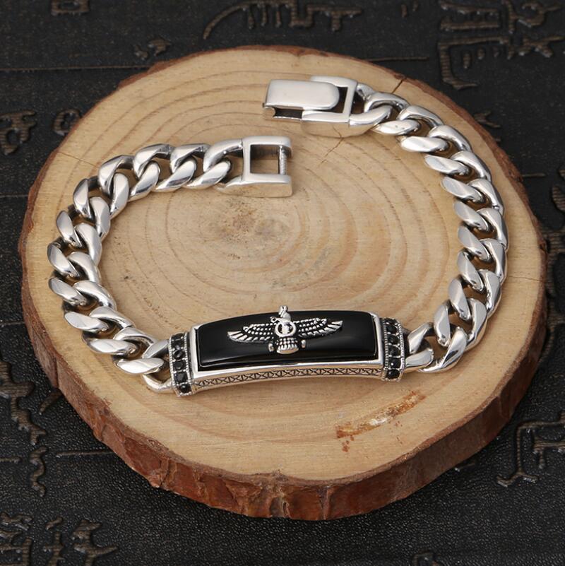 Bracelet aigle classique en argent pur 925 Bracelet aigle volant rétro en argent S925 - 6