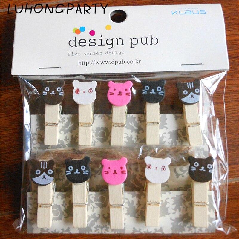 10PCS Colorful Cartoon Cat Pet Wooden Clothespin Office Supplies Photo Craft Clips DIY Clothes Paper Peg Party Decoration