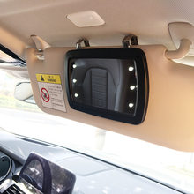 Car Sun Visor LED Makeup Mirrors Auto Sun Visor HD Interior Makeup Mirror Car With 6 LED Lights and Finger T ouch Switch(China)