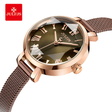 Julius Elegant Roman Numeral Waterproof Quartz Wristwatches Woman 3D Table Mirror Mesh Belt Bracelet Watch Dress Watches