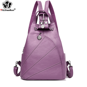 Fashion Backpack Female Brand Leather Backpack Women Luxury Travel Bag Large Capacity Backpacks Shoulder Bag Mochila Feminina women leather backpack pink bolsas mochila feminina large girl schoolbag travel bag genuine leather lady backpacks candy color