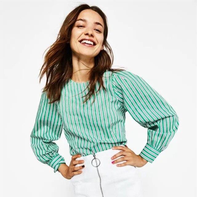 764ab3cede 2017 Women Striped Blouse Long Sleeve O-Neck Causal Elegant Women Tops  Office Ladies Female
