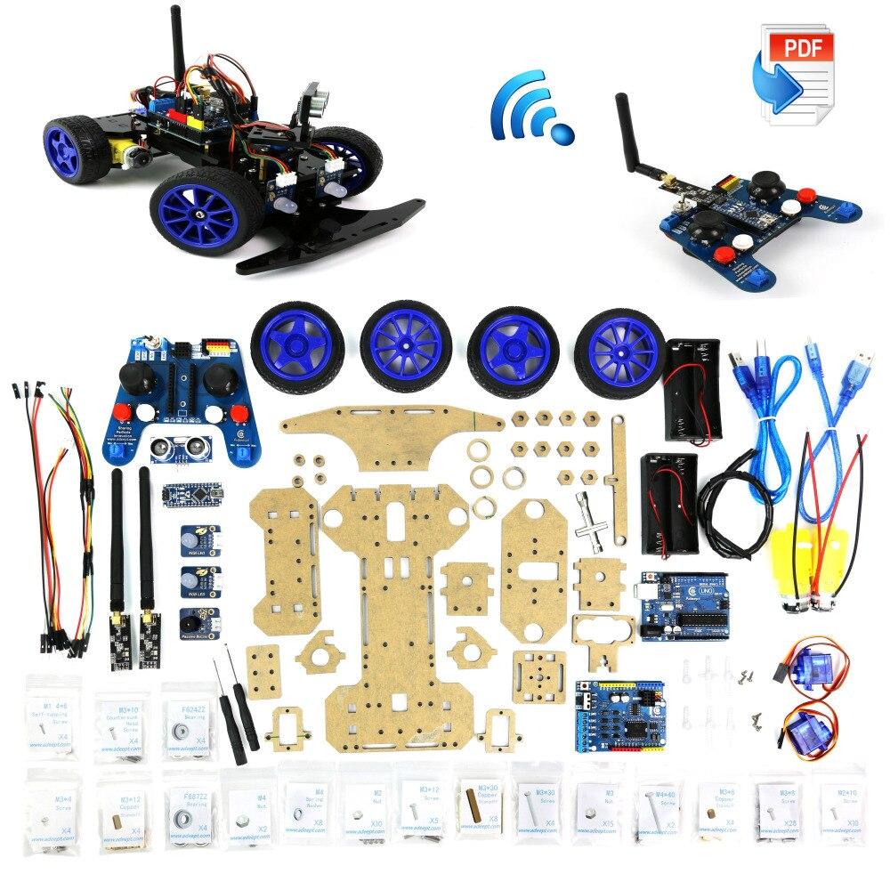 Adeept Robotics Model Arduino Smart Car kit Electronics DIY Ultrasonic Toys 2.4G Freeshipping headphones diy diykit