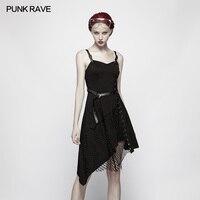 Punk Rave Women Dress Punk Black Cotton Mesh Slim Fitting Casual Sexy Fashion Asymmetrical Sleeveless Dress for Women