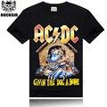 2015 Novo estilo venda Quente 100% algodão Ac Dc Preto Marca Homens T-shirt Banda de Rock Metal Impressão S-3XLL Atacado