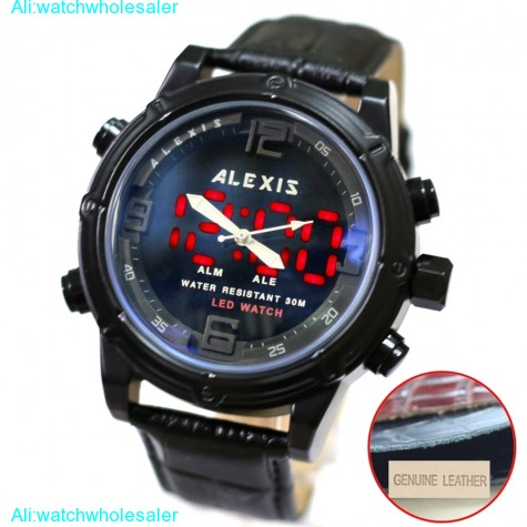 AW802E Alarm BackLight Water Resist Unisex Dual Time Alexis Analog Digital Watch