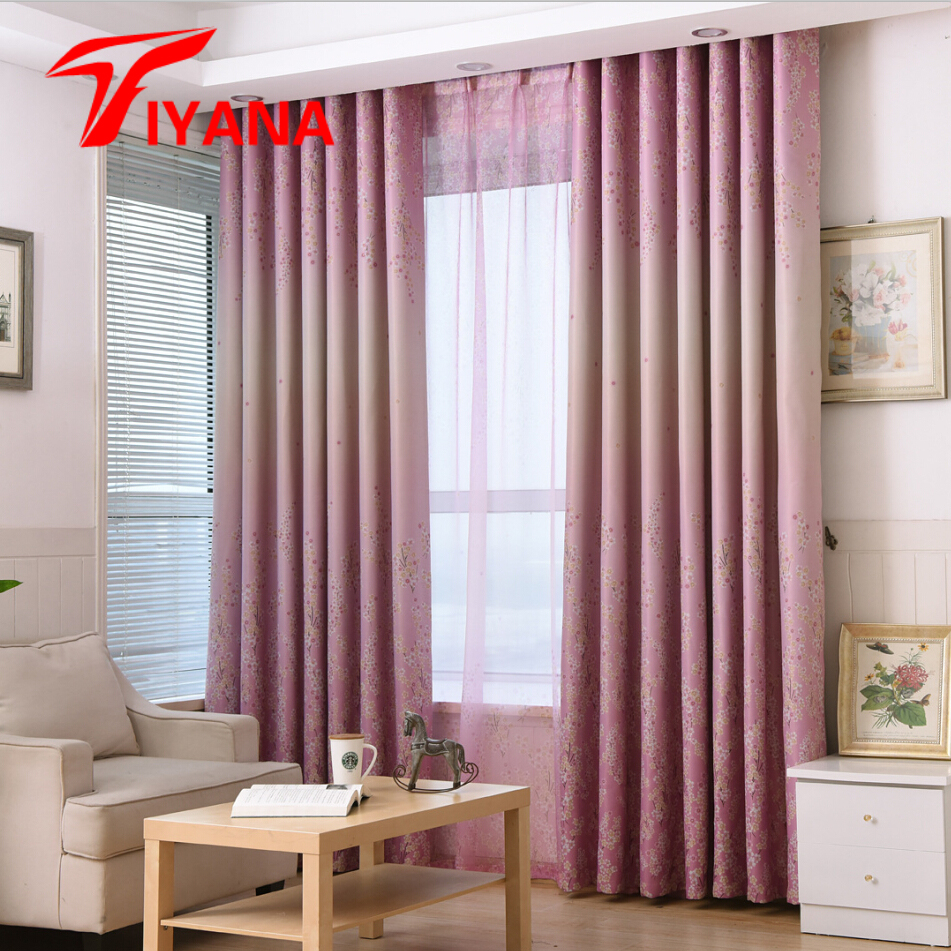 Rustic small floral leaves designer pink curtains for for 3 window curtain design