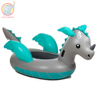 220 cm Inflatable small silver dragon floats pool float summer sports fun games holiday pvc party water toys adults