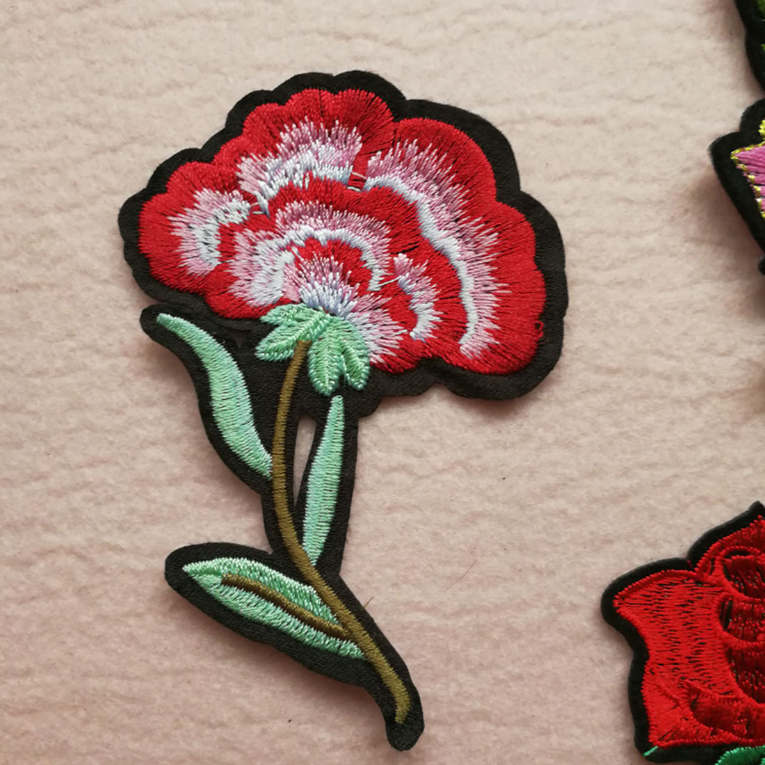 Floral Flowers CROSS STITCH FLOWER Iron On Applique Motif Patch