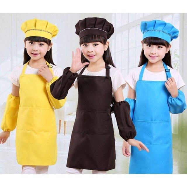 Bambini Bambino Bambini Grembiule Maniche Set Hat con Tasca Scuola Materna Cottu