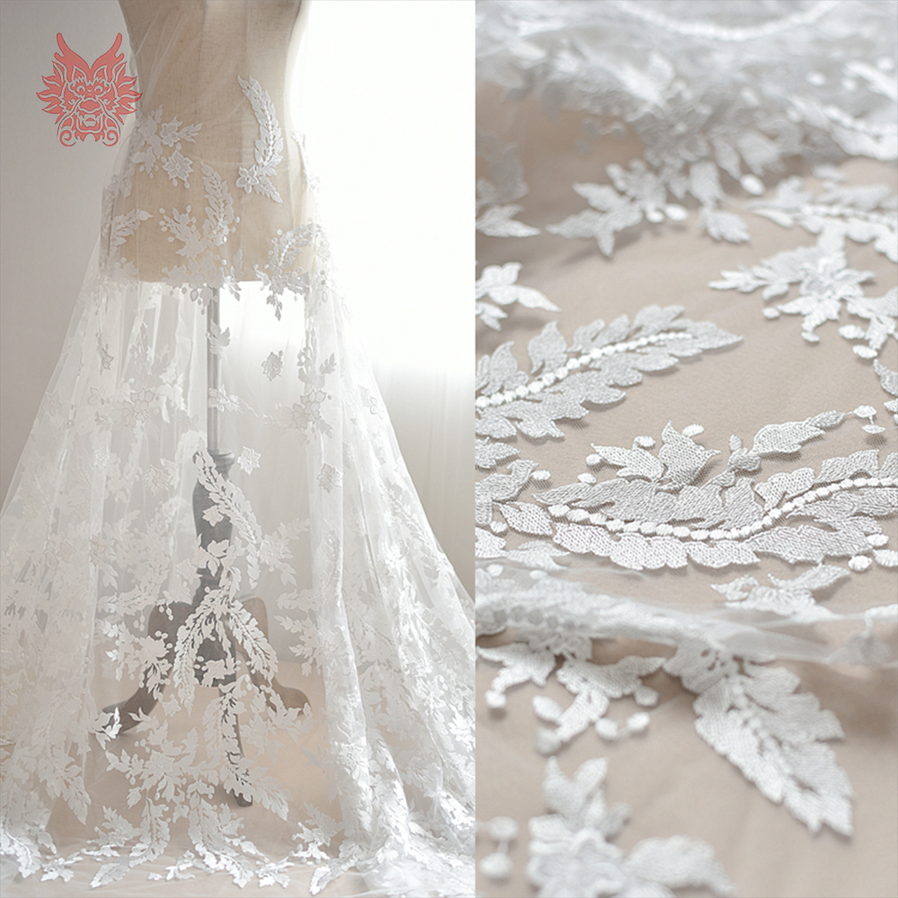 American Style White Floral Embroidery Mesh Lace Fabric For Wedding Dress Soft Diy Tissue Cloth Tela Tejido Sp4282: Diy Lace Wedding Dress At Reisefeber.org
