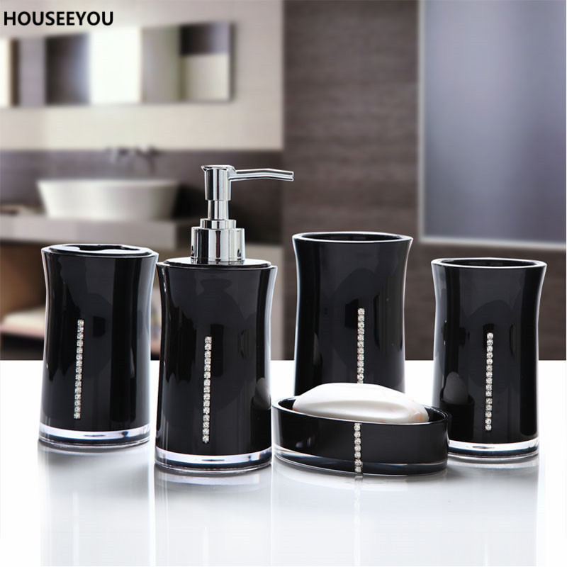 Diamond Safety Environmental Protection Odorless Toothbrush Holder Emulsion Bottle Gargle Cup Bathroom Accessories Set 5pcs/set