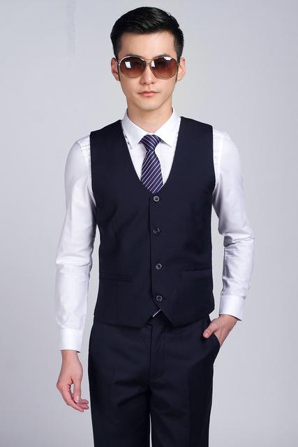 Os Recém-chegados Azul Marinho Terno Colete Para Homens Casamento Formal do Negócio vestido de Colete vestido Melhor Homem Do Noivo Colete Slim Fit Chaleco Hombre Boda