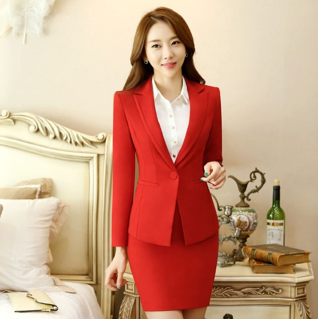 Novelty Red Spring Autumn Formal Blazer Coat For Business Women Work Wear Blazers Jackets Outwear Female Tops Uniforms