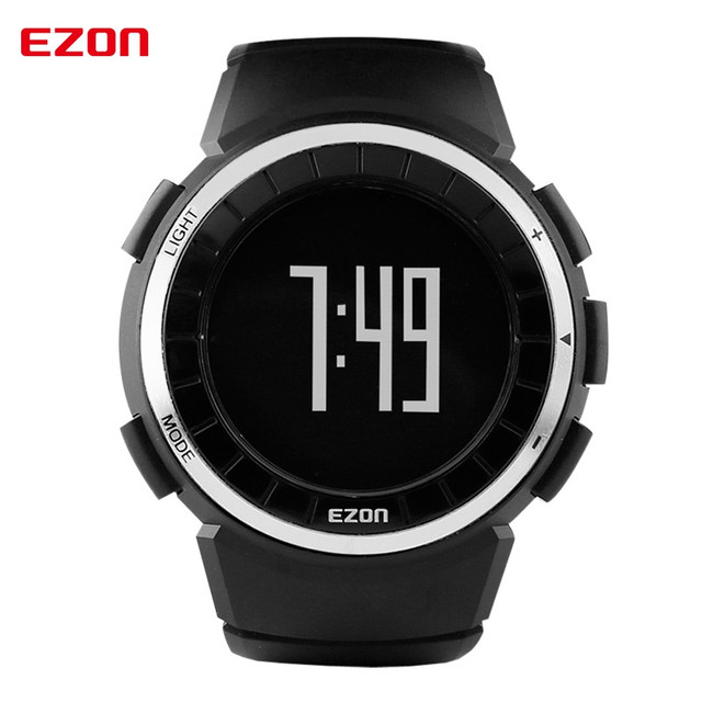 EZON sports watches waterproof watch electronic pedometer calorie counter watch Mens Red + Black + Silver Digital Wristwatches