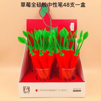 48 Pcs Gel Pens Strawberry Green Leaf Black Colored Kawaii Gift Gel-ink Pens for Writing Cute Stationery Office School Supplies