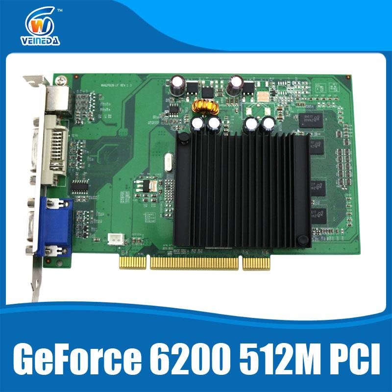 Prix pour PCI carte vidéo Geforce 6200 512 MB DDR2 carte graphique DVI/VGA Silencieux dissipateur de chaleur