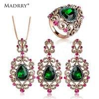 Madrry Turkish Jewelry Set Heart Shape Necklaces&Earrings&Ring Antique Silver color Pendants Brincos Aneis Parure Bijoux Femmes