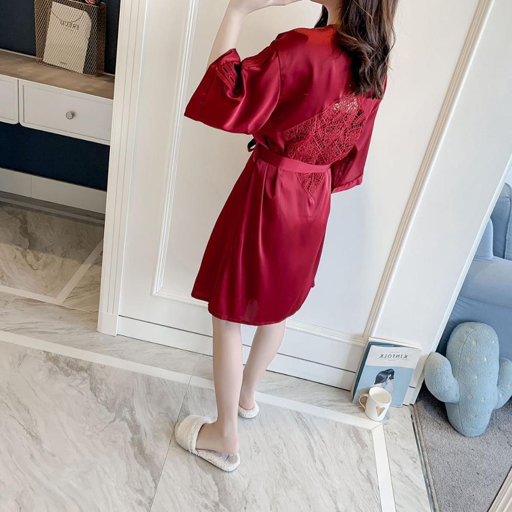 Image 3 - BZEL Sexy Lace Robe Sets With Belt 2PCS Women's Satin Pijamas Set Nightgown Silk Summer Sleepwear Bathrobe Female Pijamas M XL-in Robe & Gown Sets from Underwear & Sleepwears